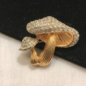 Vintage Jomaz Gold Mushrooms & Rhinestones Brooch